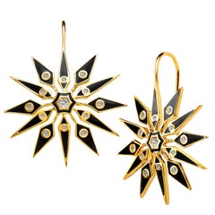 Syna Yellow Gold Black Enamel Earrings with Champagne Diamonds