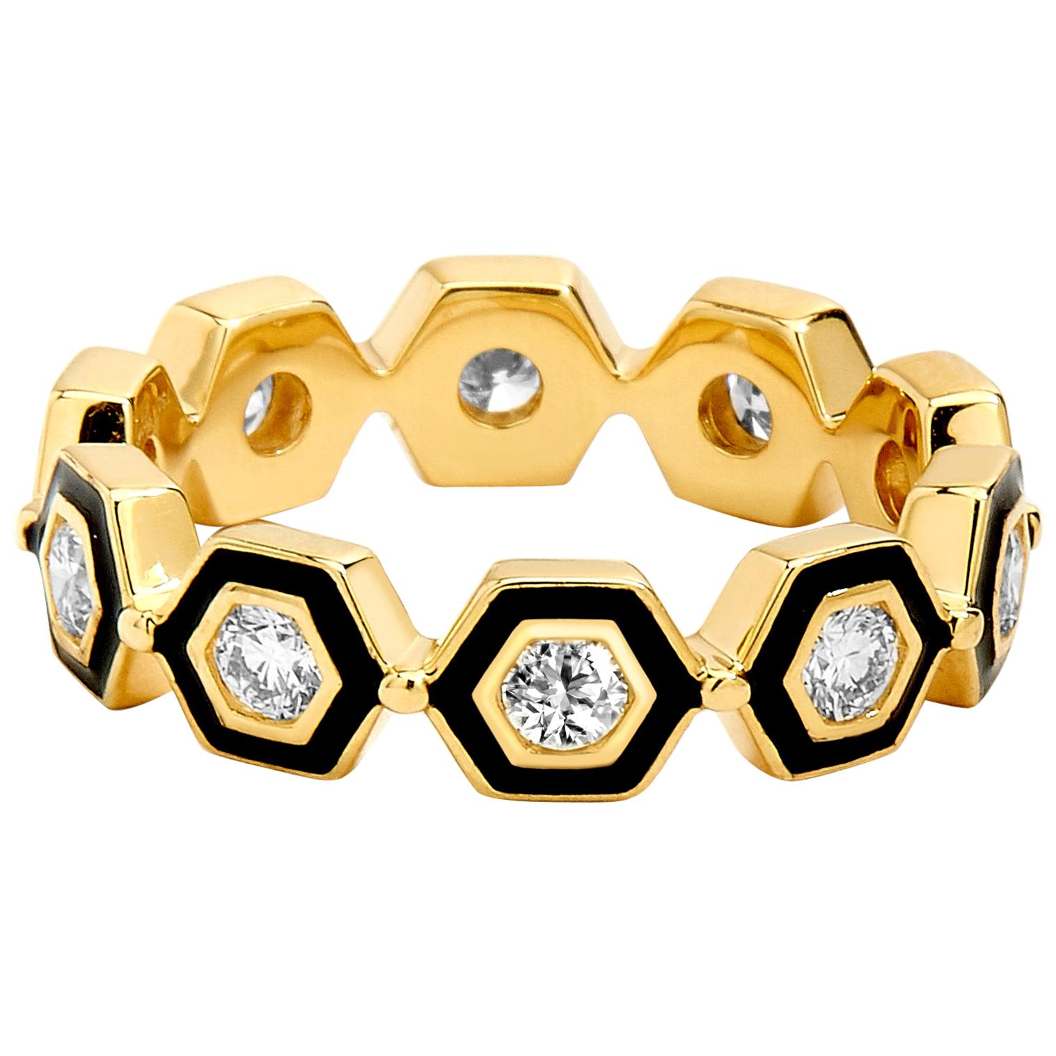 Syna Yellow Gold Black Enamel Ring with Champagne Diamonds