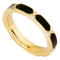 Syna Yellow Gold Black Enamel Ring with Diamonds
