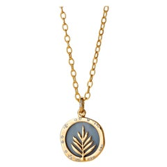 Syna Yellow Gold Blue Agate Reversible Pendant with Champagne Diamonds