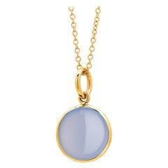 Syna Yellow Gold Blue Chalcedony Chakra Charm Pendant