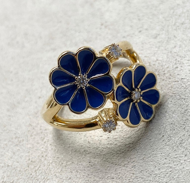 Created in 18 karat yellow gold Dark Blue enamel  Champagne diamonds 0.14 ct approx Ring size US 6.5, Can be made in other ring sizes on special order   About the Designers ~ Dharmesh & Namrata  Drawing inspiration from little things, Dharmesh &