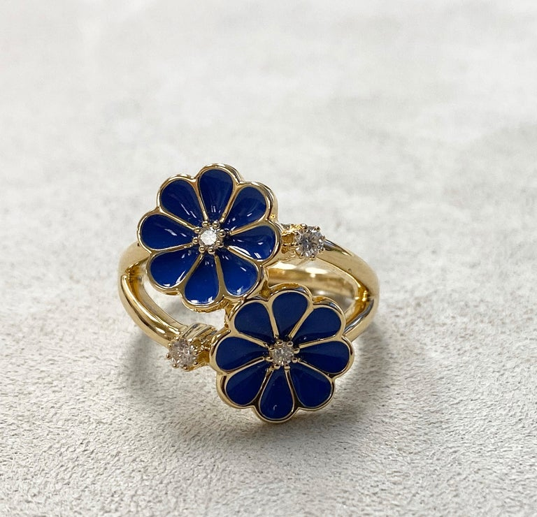 Syna Yellow Gold Blue Enamel Ring with Champagne Diamonds In New Condition For Sale In Fort Lee, NJ