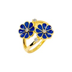 Syna Yellow Gold Blue Enamel Ring with Champagne Diamonds