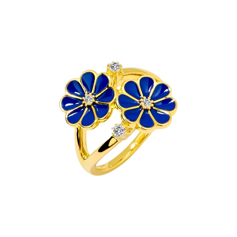 Syna Yellow Gold Blue Enamel Ring with Champagne Diamonds For Sale