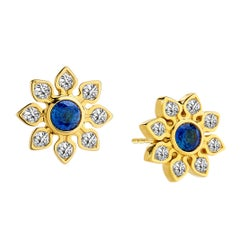 Syna Yellow Gold Blue Sapphire and Champagne Diamond Earrings