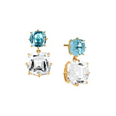 Syna Yellow Gold Blue Topaz and Rock Crystal Cushion Earrings