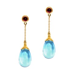 Syna Yellow Gold Blue Topaz and Rubellite Mogul Drop Chain Earrings