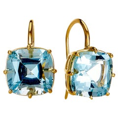 Syna Yellow Gold Blue Topaz Cushion Earrings