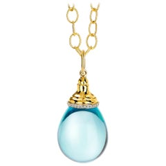 Syna Yellow Gold Blue Topaz Drop Pendant with Diamonds