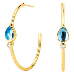 Syna Yellow Gold Blue Topaz Mogul Hoops