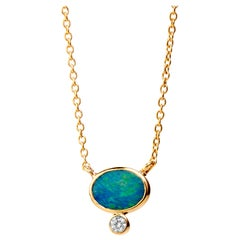 Syna Yellow Gold Boulder Opal Necklace with Champagne Diamond