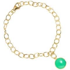 Syna Yellow Gold Bracelet with Chrysoprase