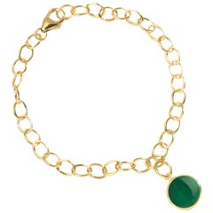 Syna Yellow Gold Bracelet with Green Chalcedony