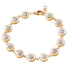 Syna Yellow Gold Bracelet with Mother of Pearl and Champagne Diamonds