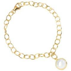 Syna Yellow Gold Bracelet with Mother of Pearl