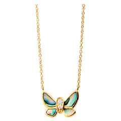 Syna Yellow Gold Butterfly Necklace with Abalone and Champagne Diamonds