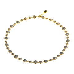Syna Yellow Gold Chakra Necklace with Black and Champagne Diamonds