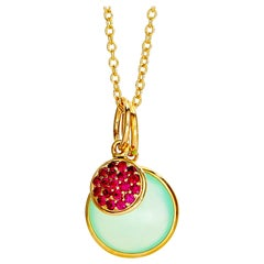 Syna Yellow Gold Chakra Necklace with Sea-Green Chalcedony and Rubies