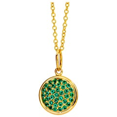 Syna Yellow Gold Chakra Pendant with Emeralds