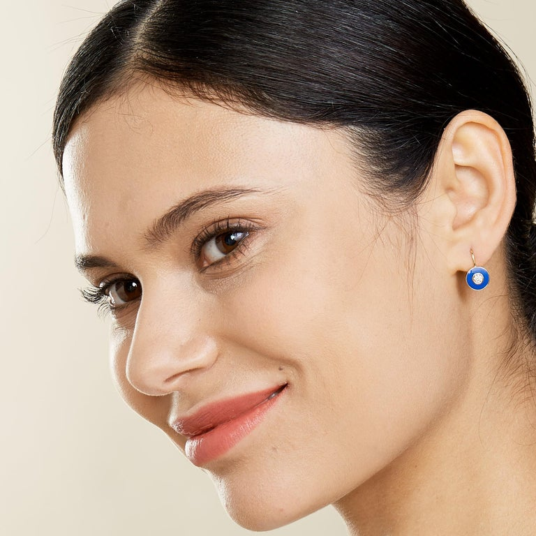 Contemporary Syna Yellow Gold Champagne Diamond Blue Enamel Earrings For Sale