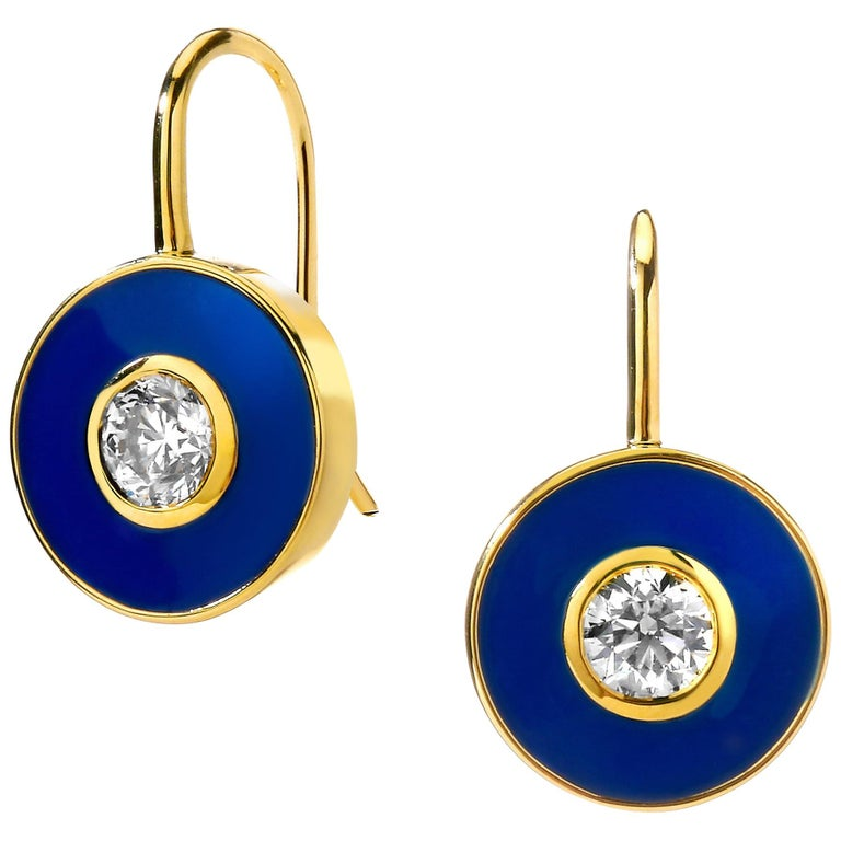 Syna Yellow Gold Champagne Diamond Blue Enamel Earrings For Sale