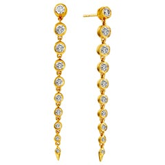 Syna Yellow Gold Champagne Diamond Drop Earrings