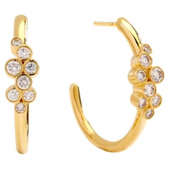 Syna Yellow Gold Champagne Diamond Earrings