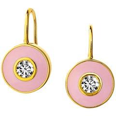 Syna Yellow Gold Champagne Diamond Pink Enamel Disc Earrings