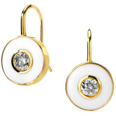 Syna Yellow Gold Champagne Diamond White Enamel Earrings