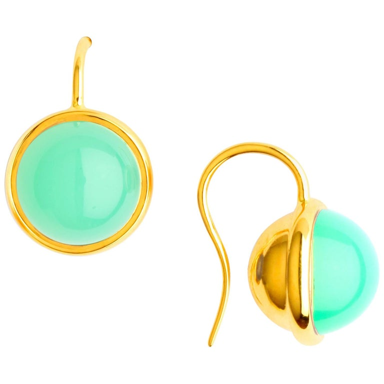 Syna Yellow Gold Chrysoprase Baubles Earrings For Sale