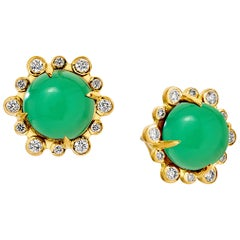 Syna Yellow Gold Chrysoprase Earrings with Champagne Diamonds