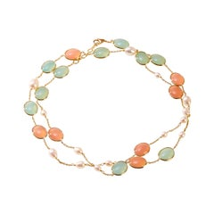 Syna Yellow Gold Cobblestone and Pearl Necklace