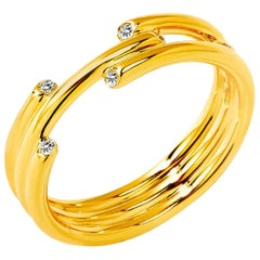 Syna Yellow Gold Cosmic Band with Champagne Diamonds