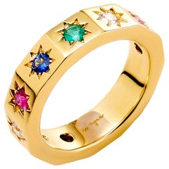 Syna Yellow Gold Cosmic Multi-Color Stars Band with Champagne Diamonds