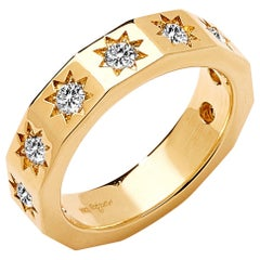 Syna Yellow Gold Cosmic Stars Band with Champagne Diamonds