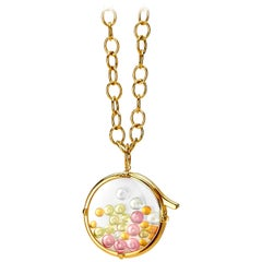 Syna Yellow Gold Crystal Locket with Multi-Color Gemstone Beads