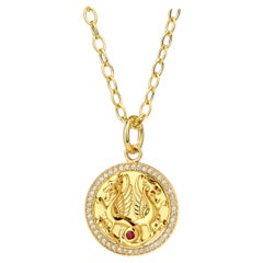 Syna Yellow Gold Dragon Pendant with Ruby and Champagne Diamonds