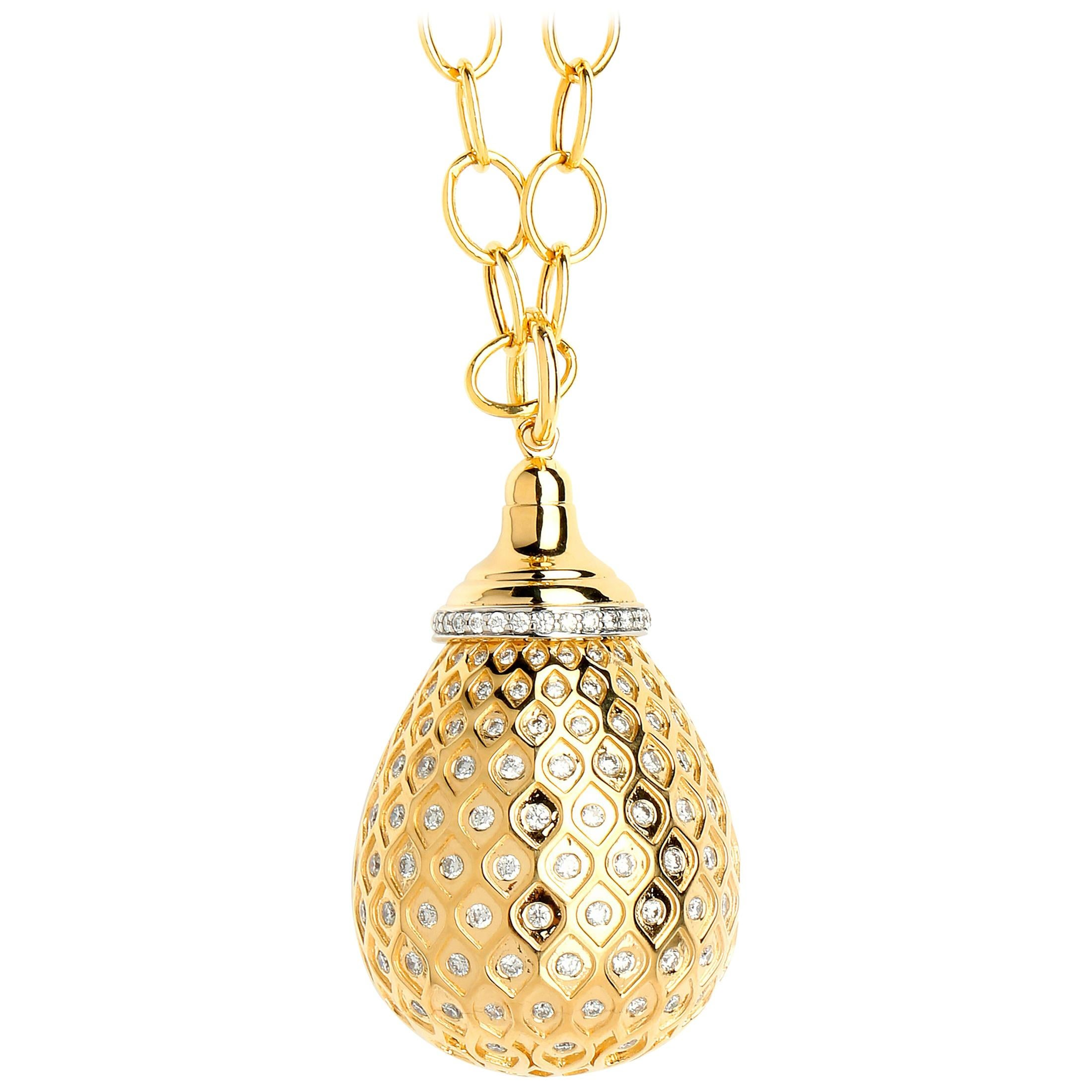 Syna Yellow Gold Drop Pendant with Champagne Diamonds