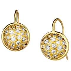 Syna Yellow Gold Earrings with Bright Champagne Diamonds