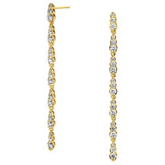 Syna Yellow Gold Earrings with Champagne Diamonds