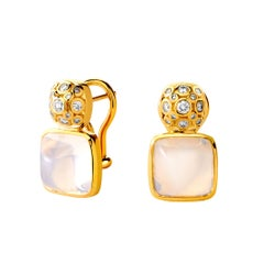 Syna Yellow Gold Earrings with Moon Quartz and Champagne Diamonds