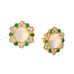 Syna Yellow Gold Earrings with Moon Quartz, Emeralds and Champagne Diamonds