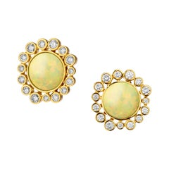 Syna Yellow Gold Earrings with Opal and Champagne Diamonds
