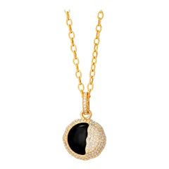 Syna Yellow Gold Eclipse Pendant with Black Onyx and Champagne Diamonds