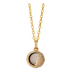 Syna Yellow Gold Eclipse Pendant with Rock Crystal and Champagne Diamonds
