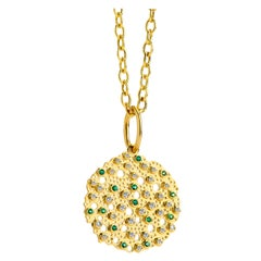 Syna Yellow Gold Emerald and Champagne Diamond Pendant