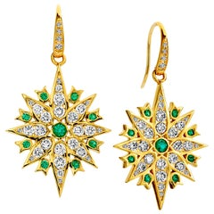 Syna Yellow Gold Emerald Earrings with Champagne Diamonds