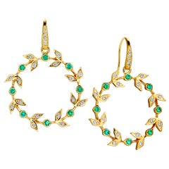 Syna Yellow Gold Emerald Twine Earrings with Champagne Diamonds