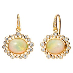 Syna Yellow Gold Ethiopian Opal Earrings with Champagne Diamonds